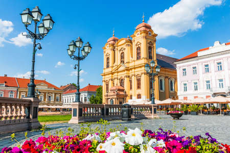 Union Square and St. George Cathedral in Timisoara, Romania.