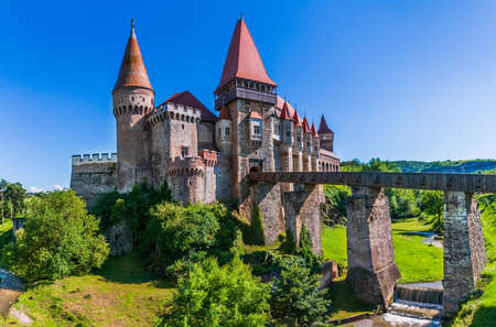 Hunedoara, Romania. Beautiful panorama of the Corvin Castle ( Hunyad Castle), Hunedoara, Transylvania, Romania, Europe.
