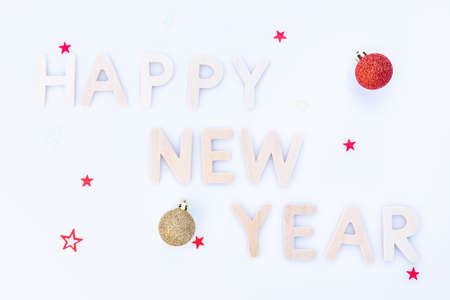 Happy New Year decoration on a white background.