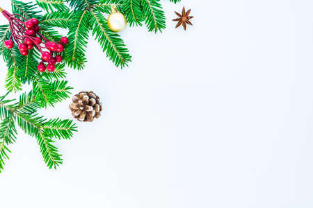 Christmas and New Year background. Holiday decorations isolated on a white background with space for text.