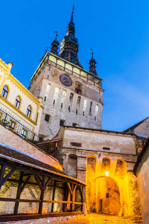 Sighisoara, Romania. Medieval town with Clock Tower in Transylvania.