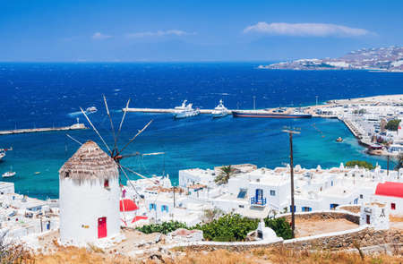 Mykonos, Greece. Panoramic view of Mykonos town, Cyclades islands.