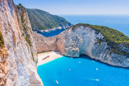 Zakynthos, Greece. Navagio Beach with shipwreck on Zakynthos island.