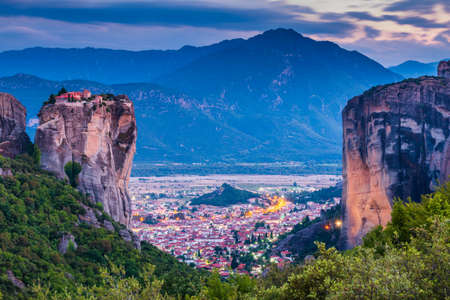 Meteora, Greece. Holy Trinity Monastery (Agia Trias) and Kalabaka town.