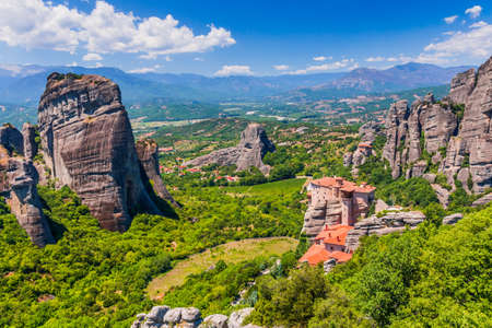 Meteora, Greece. Sandstone rock formations, the Rousanou and Nikolaos monasteries