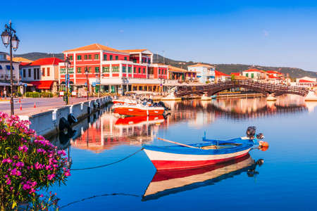 Lefkada, Greece. Small marina for the fishing boats and wooden bridge.