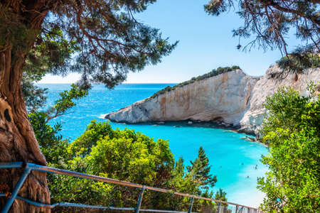 Lefkada, Greece. Porto Katsiki beach, Ionian islands.