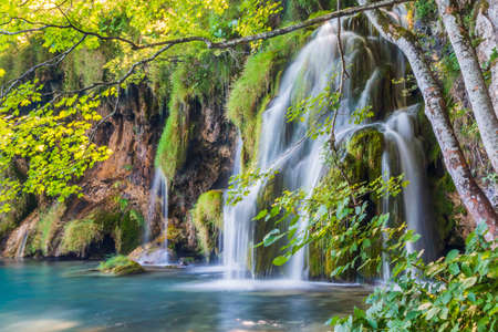 Plitvice lakes, Croatia. Waterfalls of Plitvice Lakes National Park. Stock fotó