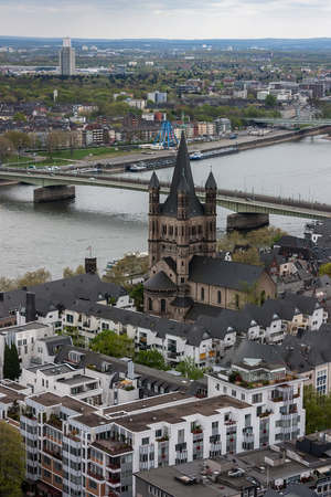 Aerial view of Cologne, Germany with Rhine River.  photo