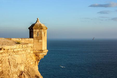 santa barbara: Detail of Santa Barbara Castle at sunset. Alicante, Spain