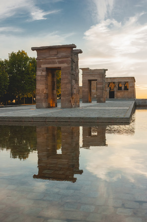 2nd century: Debod Temple in Madrid at sunset. It is an authentic Egyptian temple built in the 2nd century BC, at the village of Debod. Now stands in the Parque de la Monta?a near Plaza de Espa?a. Stock Photo