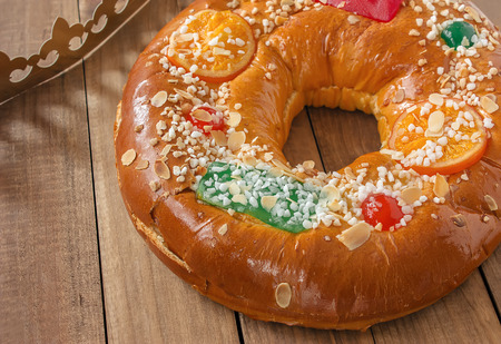 "Roscon de reyes (Three kings cake). It is a traditional Spanish holiday dessert served the morning of ""Reyes"" (King's Day), or Epiphany (January 6th) Stock Photo"