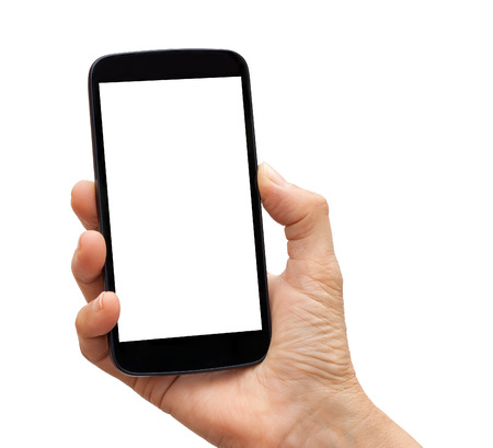 hand holding phone: Hand holding a black smartphone with white blank empty screen. Isolated on white background.