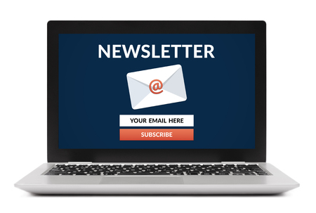 Subscribe newsletter concept on laptop computer screen. Isolated on white background. All screen content is designed by me. Stock Photo