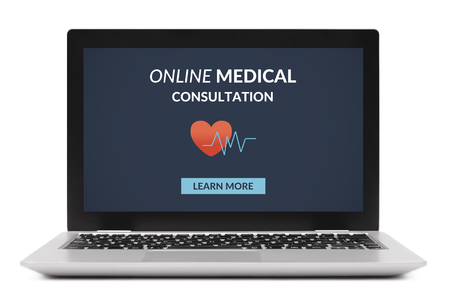 Online medical consultation concept on laptop computer screen. Isolated on white background. All screen content is designed by me. Stock Photo
