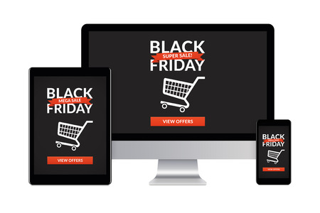 Desktop computer, tablet and smartphone isolated on white with black friday concept on screen. Digital generated devices.