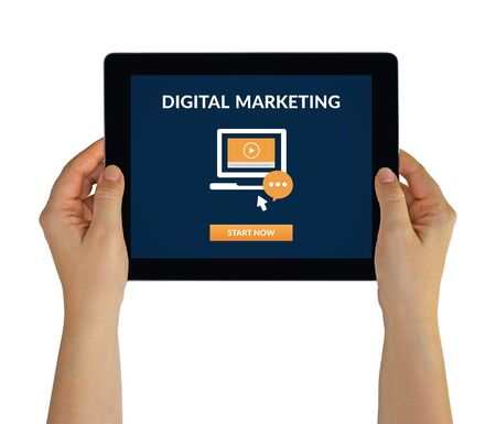 Hands holding tablet computer with digital marketing concept on screen. Isolated on white. 版權商用圖片