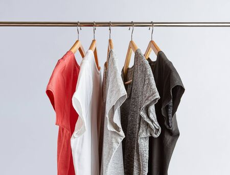 Capsule wardrobe concept. T-Shirts in neutral colors hanging on a clothing rack. Minimalist wardrobe.