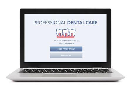Concepto de atención dental en la pantalla de la computadora portátil. Aislado sobre fondo blanco.