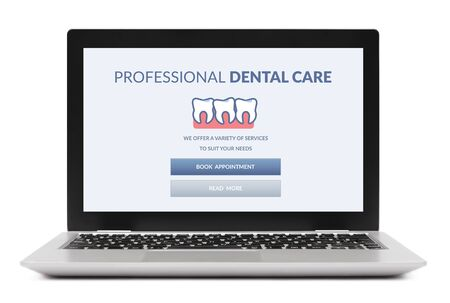 Dental care concept on laptop computer screen. Isolated on white background.