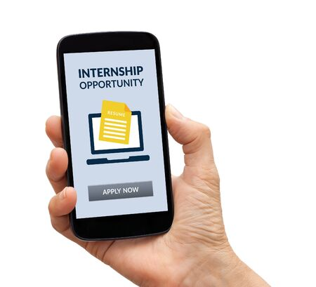 Hand holding a black smart phone with internship concept on screen. Isolated on white background.