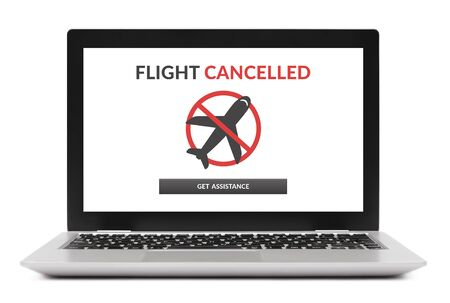 Flight cancelled concept on laptop computer screen. Isolated on white background.
