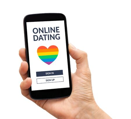 Hand holding a black smart phone with  dating app concept on screen. Isolated on white background. online dating.