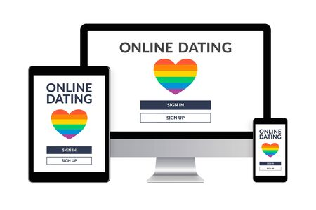 Desktop computer, tablet and smartphone isolated on white with LGBT dating app concept on screen. Gay online dating. Digital generated devices.