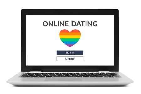 LGBT dating app concept on laptop computer screen. Isolated on white background. Gay online dating. Standard-Bild