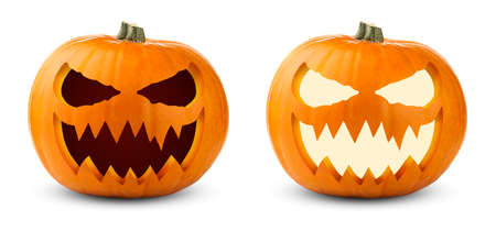 Two scary Halloween pumpkins isolated on white background. Unlit and illuminated Halloween pumpkins. Popular symbol of Halloween holiday celebration.