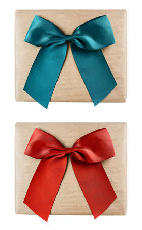 Holiday gift boxes wrapped in brown paper