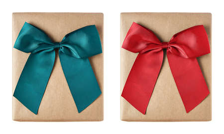 Christmas gift boxes wrapped in brown paper