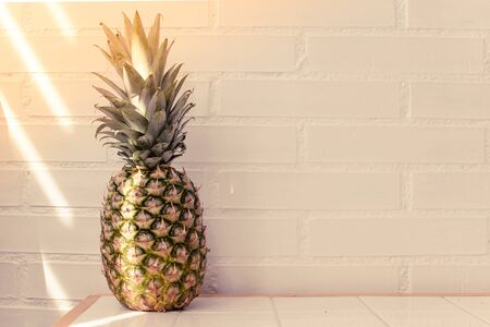 summer diet concept. Pineapple in sunset light