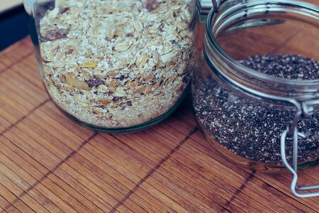 chia seed and muesli in hermetic glass jar