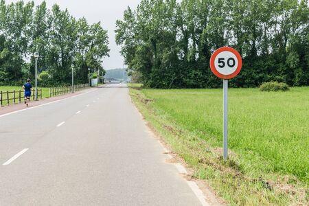 50 kilometers per hour signal 写真素材