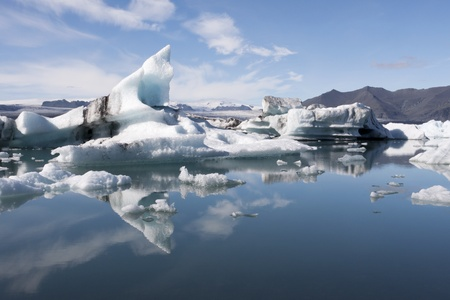 Floating icebergs in glacial lake Jokulsarlon in Iceland