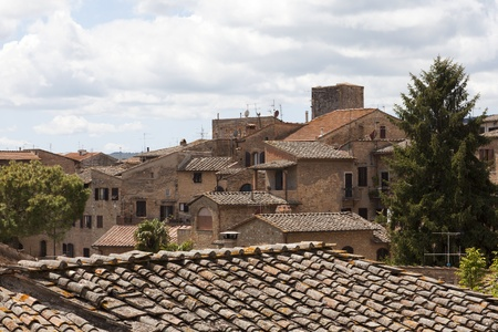 Rooftops in the ancient Tuscan village San Gimignano, Italy Stock Photo
