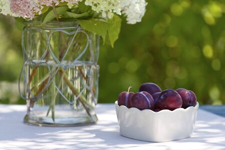Bowl with plums on a table in the garden