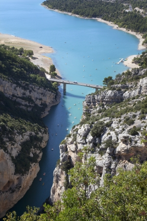gorges: view of Gorges du Verdon in France with boats and canoes