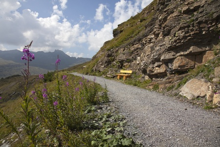 Hiking path in Switzerland at the Flumserberg Stock Photo