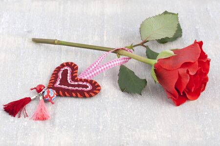 Rose with a handmade heart
