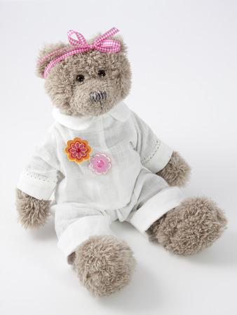 Teddybear girl with white clothes