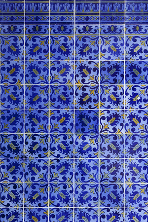 Detail of Portuguese glazed blue tiles Stock Photo