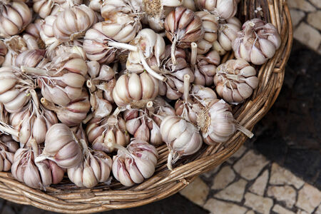 Detail of garlic in a basket