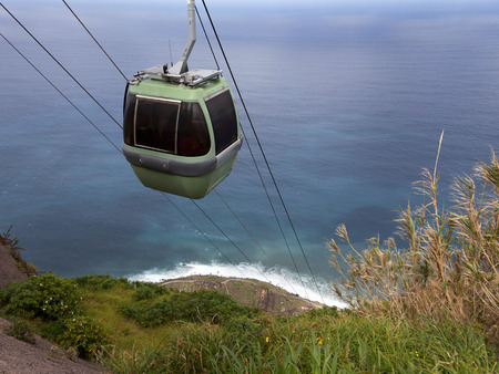 Cablecar at the steep coast of Madeira, Achadas da Cruz, Portugal