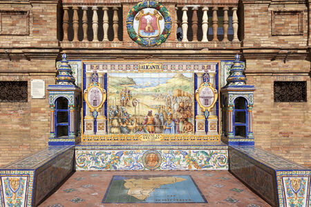 Wall with ceramic tiles at Plaza de Espana, Sevilla, Spain  Alicante theme