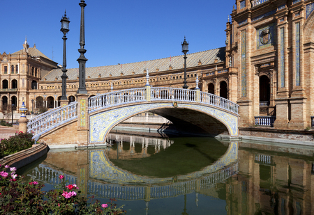 Bridge of Plaza de Espana  Spanish Square , Seville, Spain