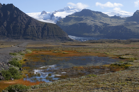 Beautiful landscape in Iceland with mountains reflecting in water
