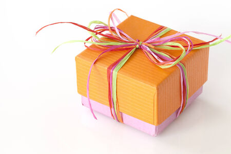 Lovely orange and pink present  gift box  with ribbons