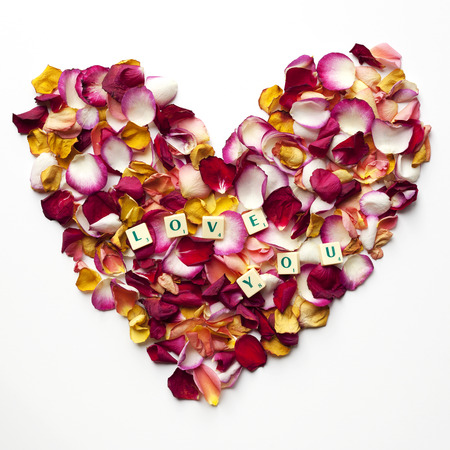 Heart of colorful rose petals with the words: love you Stock Photo